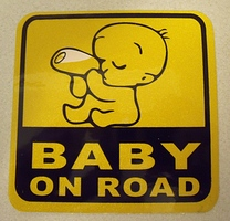 Baby on road decal