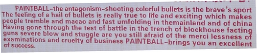 Chinglish sign for paintball