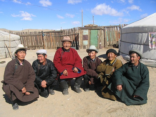 Men in traditional mongolian clothes
