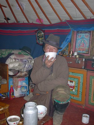 Man in Mongolian ger