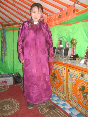Purple deel on Mongolian woman
