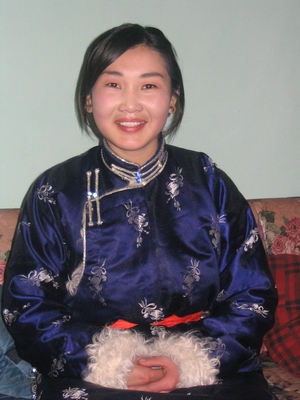 Mongolian woman in traditional clothing