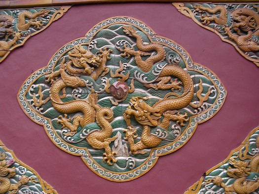 Glazed tile Chinese dragons