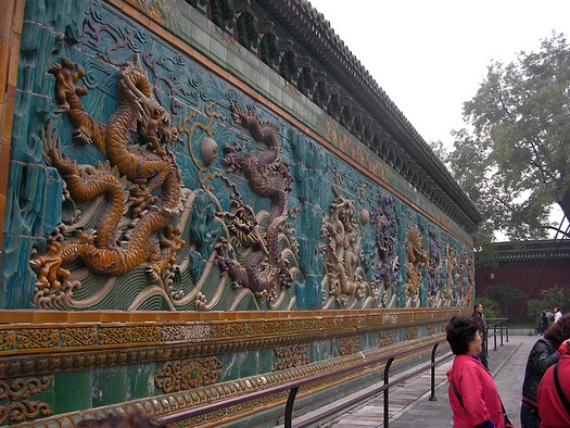 Two-sided Chinese dragon screen wall