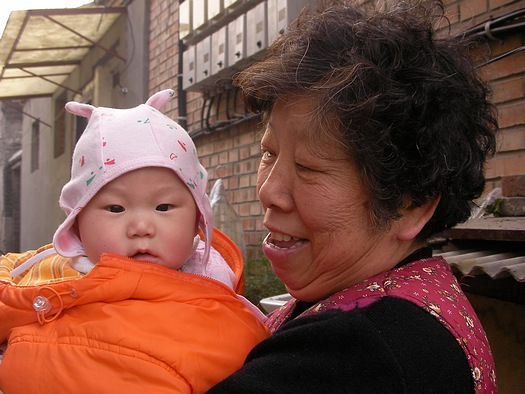 Chinese baby and grandmother