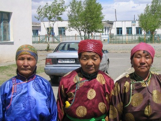 Mongolian grandmothers in traditional clothes