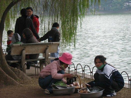 Vendors in Vietnamese park