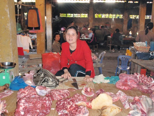 Asian-style butcher stall in Vietnam free market