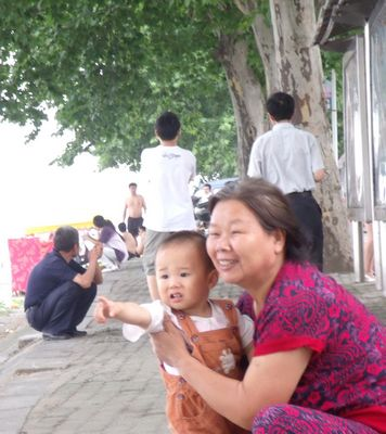 China baby by lake