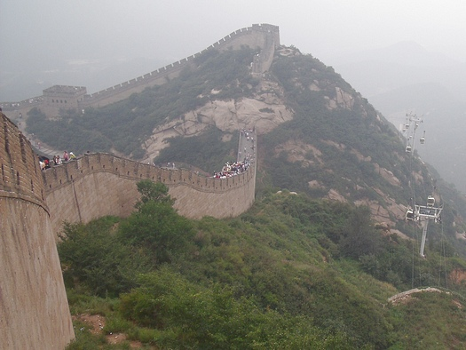 Great Wall near top