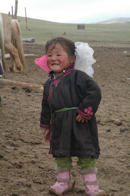 Mongolian girl with bows