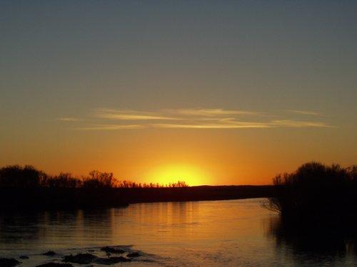 Mongolian sunset over river