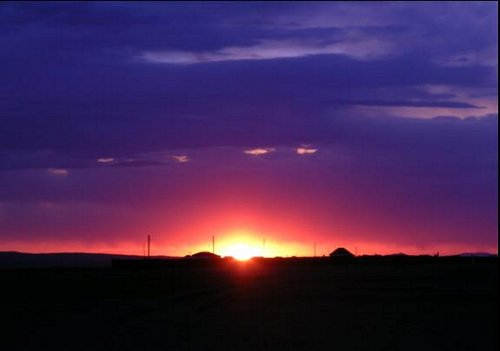 Mongolia sunset over grassland