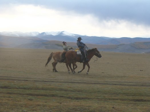 Mongolian horse riders and mountains
