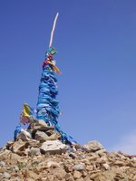 Blue prayer flags in Mongolia
