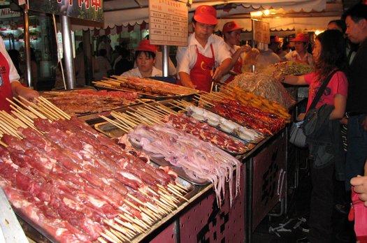 Squid sticks in Beijing market