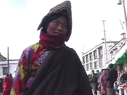 Colourful sweater Tibetan woman