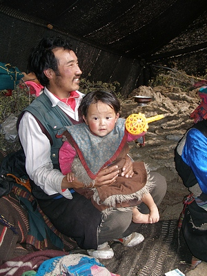 Tibetan nomad father and daugter