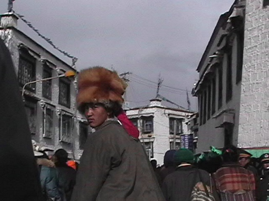Tall fur hat in Lhasa