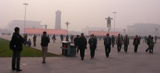 Video screens in Tiananmen Square 2009