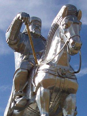 Genghis Khan face on memorial
