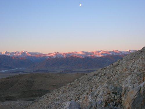 Sunlit Mongolian mountains