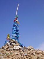 Blue prayer flags in Mongolia
