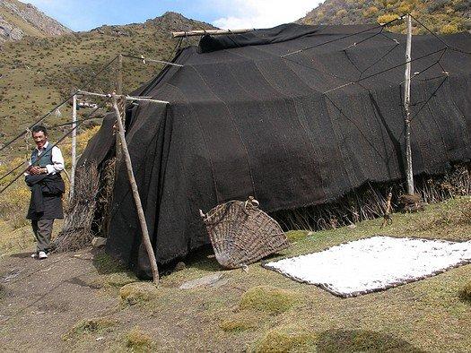Tibetan nomad tent made of yak hair